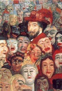 James Ensor, Autoritratto con maschere, 1899