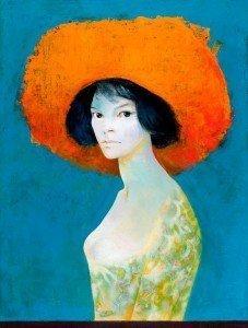 Leonor Fini, Autoritratto col cappello rosso, 1968