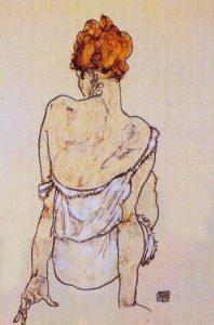 Egon Schiele Donna seduta di schiena