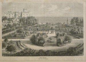 Xilografia con una veduta del parco di Miramare nel 1875
