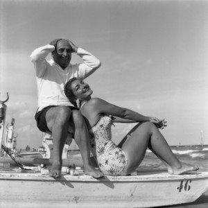 Con il marito Meneghini al Lido Di Venezia, 1956